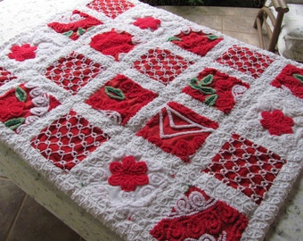 stunning red vintage chenille patchwork infant child quilt