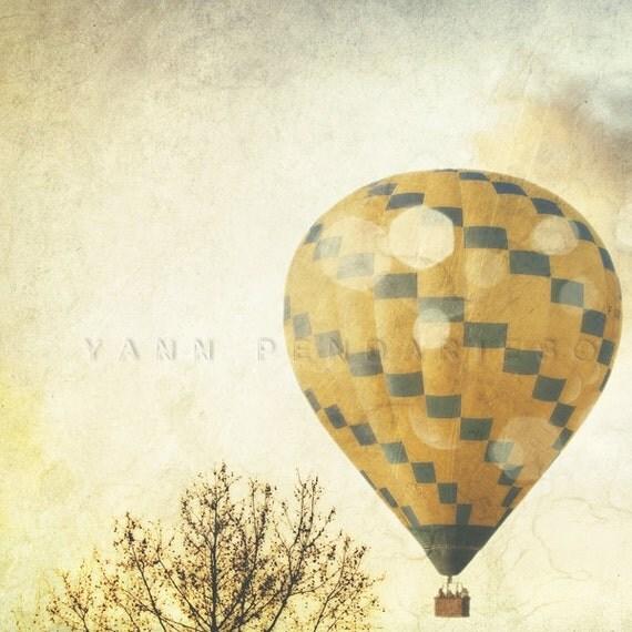 Hot Air Balloon, Tree Photography, Wall Decor, french photo art, clouds print, modern decor, landscape photograph, air balloon print