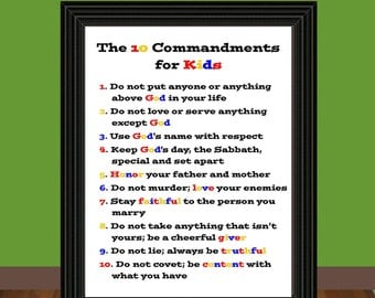 The Ten Commandments for Kids - Exodus 20 - Teaching Printable