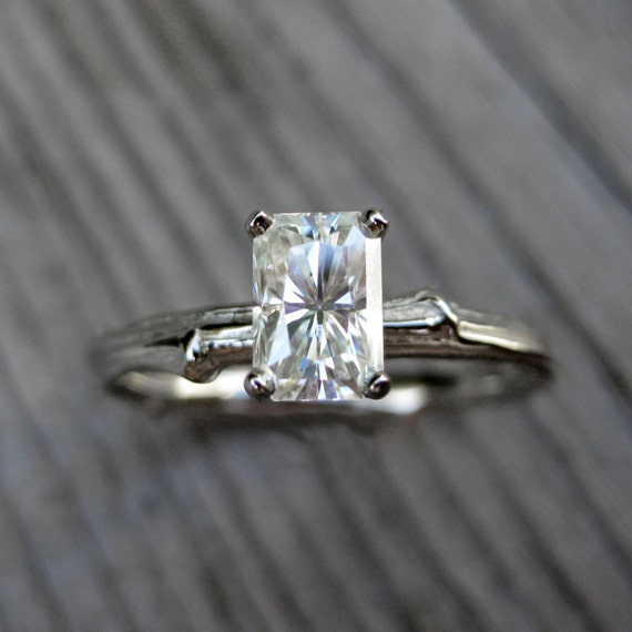 emerald cut moissanite branch engagement ring by