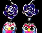 Retro Bright and Simply Adorable Cute Purple and Pink Owl Earrings