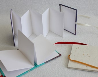 Mini Accordion Book or Card Pink and Black Striped Folding blank Card by PrairiePeasant