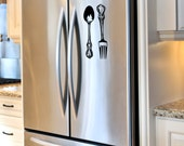 Small Spoon and Fork Kitchen 8 inch long  Cutlery vinyl wall decals DIY Kitchen craft decals