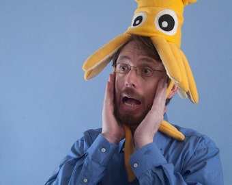 Plush Squid Hat - Small Yellow Fleece