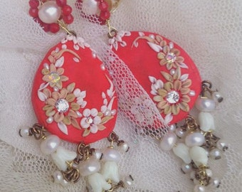 Lilygrace Coral Flower Dangle Earrings with Coral, Vintage Rhinestones and Freshwater Pearls