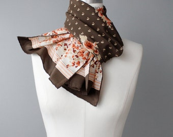 Vintage 1970s Floral Silk Scarf | Long Floral Print Scarf