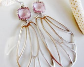 Pink Crystal Butterfly, Wing Earrings, Silver Wing Earrings, Long Silver Dangles, Woodland Jewelry, Gardendiva