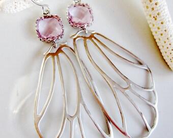 Silver Butterfly Earrings, Pink Crystal, Wing Earrings, Silver Wing Earrings, Long, Woodland Jewelry, Gardendiva