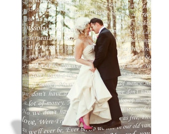 Holiday Gift Anniversary Gift for Couple First Dance Lyrics/ Custom Canvas / Your Wedding Photo with your Lyrics  Personalized Couple
