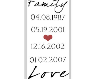 Family Special Dates Sign - Special Dates Art Sign - Cotton Anniversary - Wall Art - What a difference a Day Makes 16X32