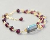 Garnet Bracelet, Multi Strand Bracelet, January Birthstone, Garnet Jewelry