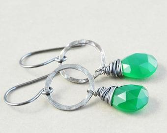 Green Onyx Dangle Earrings, Circle Earrings, Emerald Green Earrings