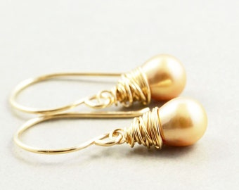 Beige Pearl Dangle Earrings, Golden Pearl Drop Earrings, June Birthstone