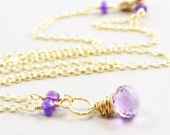 Amethyst Necklace, February Birthstone Jewelry, Gemstone Necklace