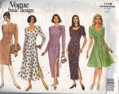 Misses Sewing Pattern Vogue 1119 Misses Dart Fitted Dress Size 6 8 10 Bust 30 1/2 31 1/2 32 1/2 UNCUT 1990s 90s