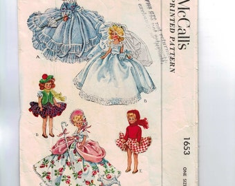 1950s Vintage Doll Sewing Pattern McCalls 1653 7 1/2 Inch Doll Clothes Wardrobe Bride Boe Peep Southern Belle 1951 50s