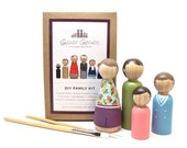 Wooden Dolls Peg Dolls Custom Family Portrait DIY Kit Do it yourself Craft Kit Paint Your Own Family Portrait Doll Kit Goose Grease