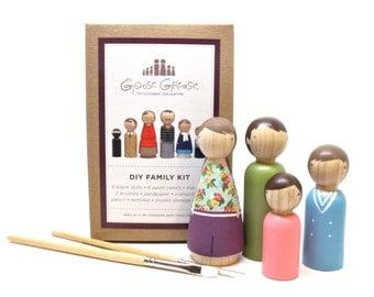 Wooden Dolls Peg Dolls Custom Family Portrait DIY Kit Do it yourself Craft Kit Paint Your Own Family Portrait Doll Kit Goose Grease