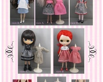Blythe Doll Pattern, Basic Dress Wardrobe with bloomers, tights various bodices and sleeves