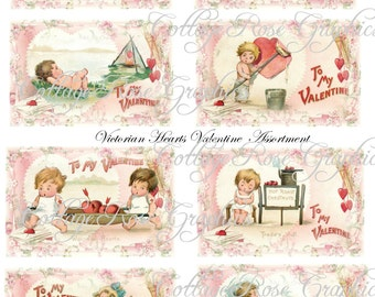 Large digital download collage Valentine Vintage Pink Victorian hearts ATC ACEO gift tags ECS buy 3 get one free