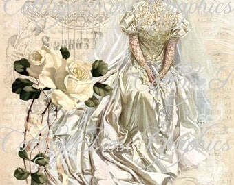 Large digital download Vintage Bridal Victorian Bride Roses Harrison Fisher BUY 3 get one FREE