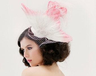 Unique Wedding Veil -  Feather Fascinator - Taxidermy Bird Hat - Bridal Hat - Head Piece - Wing Hat - Pink Bridal Accessory - Birdcage Veil