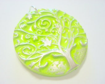 Green Silver Twirly Tree of Life Handmade Polymer Clay Pendant