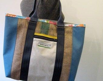 SALE! Repurposed Canvas, Burlap and Duck Cloth Tote Bag, Diaper Bag, Beach Tote