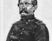 Ink painting portrait of Union Civil war cavalry officer John Buford