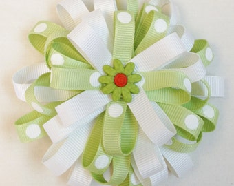 Flower Loop Bow with Green Flower