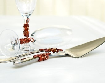 AUTUMN Beaded Wedding Cake Server Knife Set And Flutes SWAROVSKI Crystal, Glass And Pearls Cognac SWIRLS Copper Gold Orange Rust And Brown