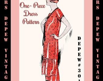 Vintage Sewing Pattern Instructions 1920's Shirred Front Dress Ebook Depew 3019 -INSTANT DOWNLOAD-