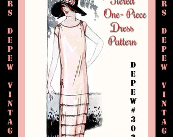 Vintage Sewing Pattern Instructions 1920's Tiered One-Piece Dress Ebook Depew 3021 -INSTANT DOWNLOAD-
