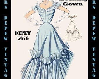 Vintage Sewing Pattern 1950's Evening Ball Gown in Any Size - PLUS Size Included - Depew 5676 -INSTANT DOWNLOAD-
