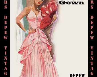 Vintage Sewing Pattern 1940's Evening Gown in Any Size - PLUS Size Included -  Depew 4916 -INSTANT DOWNLOAD-