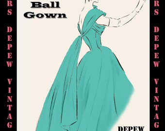 Vintage Sewing Pattern 1950's Evening Ball Gown in Any Size - PLUS Size Included - Depew 6712 -INSTANT DOWNLOAD-