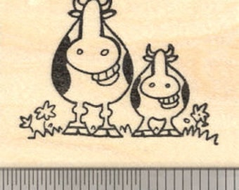 Mother's Day Grinning Cow Rubber Stamp, Cow with Baby E21118 Wood Mounted