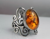 Amber Statement Ring - Baltic Amber Swirl Ring - Unique Silver Amber Jewelry - Antique Swirls - Vintage Inspired Filigree