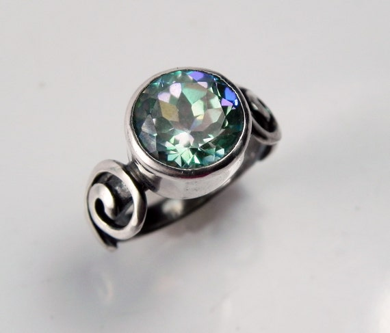 mystic topaz engagement ring unique by fantaseajewelry on etsy