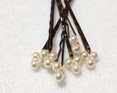 Cream Pearl Hair Pins (wedding set of 6) Swarovski Triple Pearl Hair Jewelry bobby pins