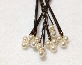 Cream Pearl Hair Pins (wedding set of 6) Swarovski Triple Pearl Hair Jewelry bobby pins