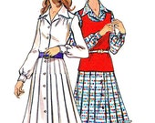 1970s Dress Pattern Butterick 6610 Womens Pleated Skirt Shirtdress Knit Tank Top Vintage Sewing Pattern Bust 38