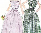 1950s Dress Pattern Simplicity 3252 Full Skirt Dress Front Button Peter Pan Collar Shirtdress Womens Vintage Sewing Pattern Bust 32