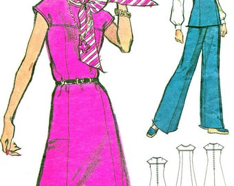 1970s Dress Pattern Vogue 8507 Cap Sleeve Yoked A Line Dress Tunic Pants Womens Vintage Sewing Pattern Bust 34 Uncut