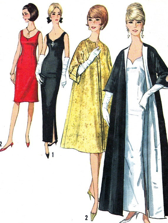 1960s Evening Dress Pattern Simplicity 5710 Womens Sweetheart Neckline Evening Dress and Coat Vintage Sewing Pattern Bust 34