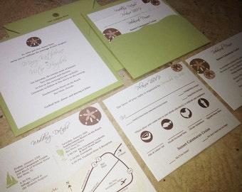 Beach Destination Wedding Invitation Suite / Square Pocket Enclosure Cards / Sand dollar Seashells