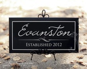 Family Wood Sign, Custom 10x20 Personalized Name Plaque Established Date, Black Wood Sign