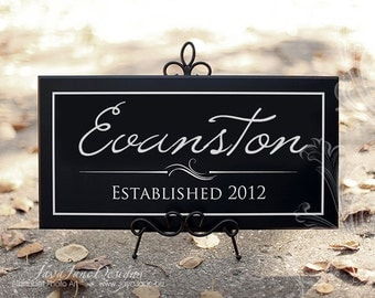 Personalized Wood Sign | Established Date Sign | Family Last Name | Custom Name Housewarming Gift | Black Wood Sign or Unframed Print