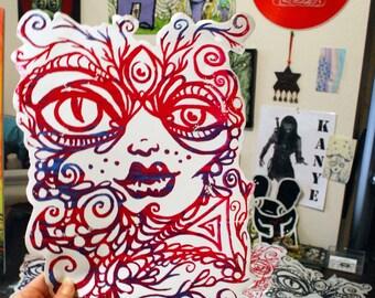 Lucid Rose Alien Goddess big sticker