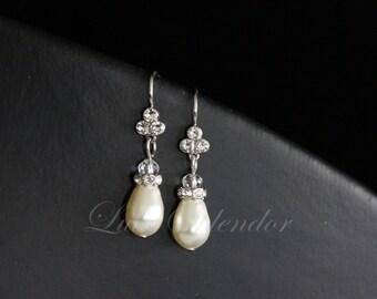 Pearl Drop Wedding Earrings Simple Bridal Earrings Rhinestone White Ivory Pearl Swarovski Crystal  BETH